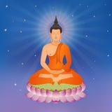 Thailändischer Buddha auf Lotus Flower Stockfotos