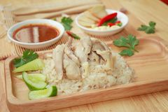 Thailändischer Feinschmecker gedämpftes Huhn mit Reis lizenzfreies stockfoto