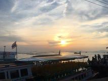 Thailändischer Flaggensonnenuntergang Stockfotografie