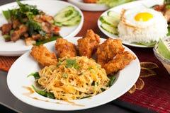 Thailändischer Fried Chicken Wings Stockfotos