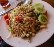 Thailändischer gebratener Reis mit Krabbenfleisch Stockfotos