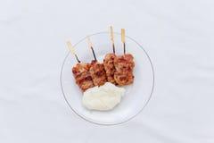 Thailändischer Grill mit Reisstock Lizenzfreies Stockbild