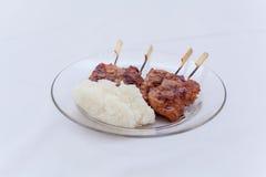 Thailändischer Grill mit Reisstock Stockfotografie