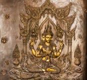 Thailändischer Kunststuck auf der Wand der Kirche Stockbild