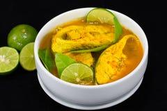 Thailändischer Lebensmittel-Fisch-Curry mit Zitronenscheibe auf Schwarzem Lizenzfreies Stockbild
