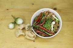 Thailändischer Lebensmittelaperitif, Nam Prik Aong, thailändisches Nordart-Schweinefleisch Lizenzfreie Stockbilder