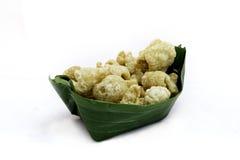 Thailändischer Lebensmittelaperitif, Schweinefleischsnack, Schweinefleischrinde, Schweinefleischverkratzen, stockbilder