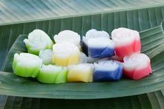 Thailändischer Nachtisch, Kanom Chan, überlagern weichen Pudding Lizenzfreie Stockfotografie