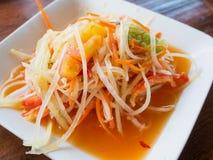Thailändischer Papaya-Salat-Som Tum thailändisch Stockbilder