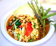 Thailändischer Papayasalataufschlag Stockbild