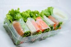 Thailändisches Frischgemüse-Reis-Blatt Rolls Stockbild