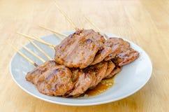 Thailändisches gegrilltes Schweinefleisch der Art BBQ Lizenzfreie Stockfotografie