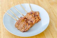 Thailändisches gegrilltes Schweinefleisch der Art BBQ Lizenzfreies Stockbild