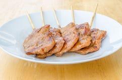 Thailändisches gegrilltes Schweinefleisch der Art BBQ Stockfotos