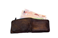 Thailändisches Geld in der Geldbörse mit lokalisiertem weißem Hintergrund Stockbild
