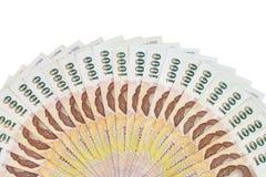 Thailändisches Geld in tausend Bank lokalisiertem Bild lizenzfreies stockfoto