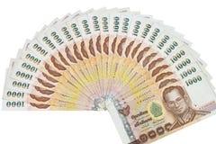 Thailändisches Geld in tausend Bank lokalisiertem Bild lizenzfreies stockbild