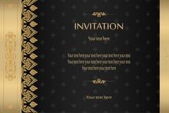 Thailändisches Gold auf schwarzem Luxusweinlesevektor-Zusammenfassungshintergrund Stockbilder