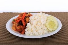 Thailändisches Lebensmittel, angebratenes Huhn mit Acajounüssen, Acajounuss briet mit Huhn und Bonbon Lizenzfreies Stockbild