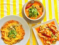 Thailändisches Lebensmittel, Austernomelett, Aufruhr briet Kalmar mit gesalzenem Ei York, Tom-yum kung lizenzfreie stockfotos