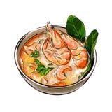 Thailändisches Lebensmittel der Tom-Jamswurzelsuppe mit Garnelen vector Illustration Lizenzfreie Stockfotografie