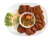 Thailändisches Lebensmittel Fried Fish Cakes Lizenzfreies Stockbild