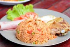 Thailändisches Lebensmittel - gebratener Reis mit Mischgemüse und Acajounüssen Lizenzfreies Stockbild