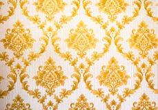 Thailändisches Muster Art Golden Lai Thai Background und Tapeten-Beschaffenheit Siamesischer traditioneller Art Lizenzfreies Stockfoto