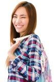 Thailändisches nettes Mädchen mit glücklichem Gesicht stockbild