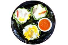 Thailändisches Nordartlebensmittel, das Schweinefleischreisknoblauchzucker und -salz mischte lizenzfreies stockbild