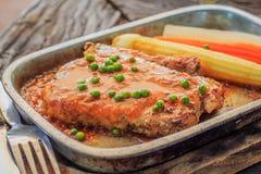 Thailändisches Steakschweinefleisch-Gemüse papper Stockfotos