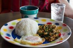 Thailändisches würziges Lebensmittel, Whitbasilikum gebratenes Huhn des Aufruhrs Stockbild