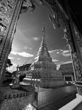 Thailändsk arkitektur, Wat Mahawan är Th Royaltyfri Bild