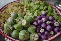 Thailändsk aubergine, gurka, bambufors Royaltyfri Foto