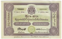 Thailändsk baht för pengar 100 Arkivbild