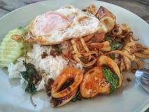 Thailändsk basilikaskaldjur på ris och ägget fotografering för bildbyråer