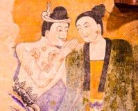 Thailändsk berömd vägg- målning Arkivbild