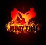 Thailändsk boxning sparkar med halsställing av muay thai brand Arkivbild