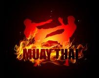 Thailändsk boxning sparkar ställing Arkivbilder