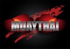 Thailändsk boxningTypo med boxninghandskarna Royaltyfria Bilder