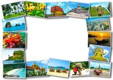 Thailändsk design för loppturismbegrepp - collage av Thailand avbildar fotografering för bildbyråer
