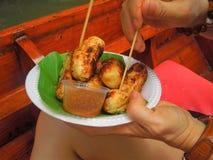 Thailändsk efterrätt-grillad banan Arkivfoton