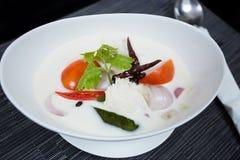 Thailändsk feg soppa i kokosnöt mjölkar Royaltyfria Foton