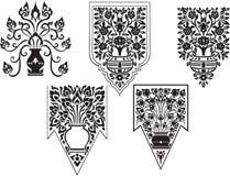 Thailändsk fin Art Flowers vektoruppsättning [EPS10] Arkivbilder