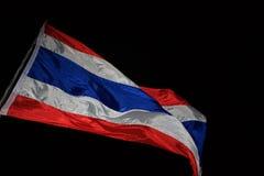 Thailändsk flagga med svart bakgrund Fotografering för Bildbyråer