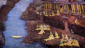 Thailändsk gammal stilmålningkonst & x28; 1931& x29; av den Ramayana berättelsen på tempelväggen av berömda Wat Phra Kaew i Bangk Arkivbilder
