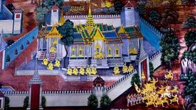 Thailändsk gammal stilmålningkonst & x28; 1931& x29; av den Ramayana berättelsen på tempelväggen av berömda Wat Phra Kaew i Bangk Royaltyfri Fotografi
