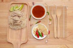 Thailändsk gourmet ångad höna med ris arkivfoto