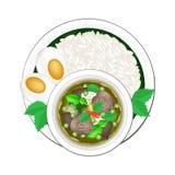 Thailändsk grön curry med lagade mat Jasmine Rice vektor illustrationer