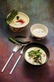 Thailändsk grön curry med ris royaltyfri fotografi